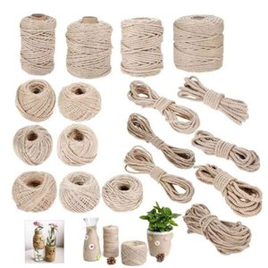 Natural Jute Rope 1mm-12mm Khaki Fabric Twine Rolls Twisted Cord Macrame String DIY Handmade Wrapping Tag Decor Hicello
