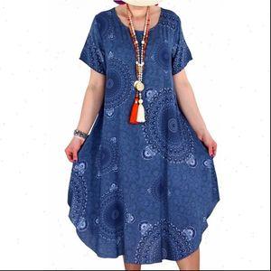 Summer Boho Print Loose Womens Dress Casual Mid Long Short Sleeve Women Ethnic Sundress Plus Size 5XL Beach