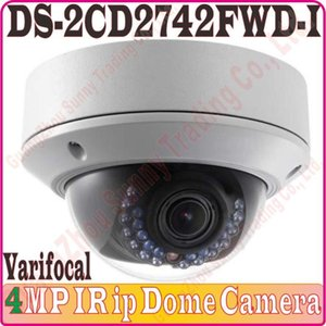 English-Ver No Audio IP كاميرا DS-2CD2742FWD-I 4MP HD 1080P IR Varifocal Dome Network Poe CCTV 2.8 ~ 12mm WDR، كاميرات نوبرس