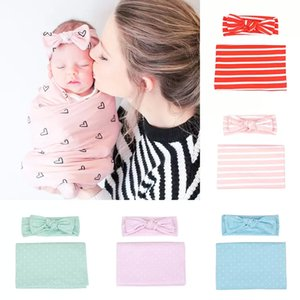 Spring Autumn Infant Baby Striped Heart Plaid Printing Sleeping Bag with Headbands Soft Cotton Toddler Boys Girls Swaddling wrap