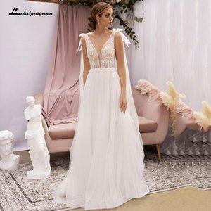 Dress Wedding Simple Beach Edge Applications Sexy V-neck Tulle Backless Bride Jurk Wieden Bridal Dresses Vestidos De Novia 2021