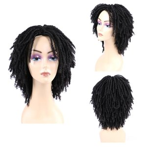 Synthetic Wigs Natifah Dreadlock Curly Wig Soft Short Black Women 6 Inch Low Temperature Fiber Ombre Faux Locs Afro Hair