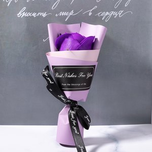 15cm Single Flower Bride Wedding Party Decorate Preserved Roses Valentines Day Soap Bloom Ribbon DIY Gift Multi Color 1 33yl G2 S3E1