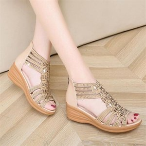 Woman Sandals Women Cyrstal Comfortable Pumps Ladies Fashion Wedges Female Rome Bling Hollow Out Shoes Women's Zip Footwear