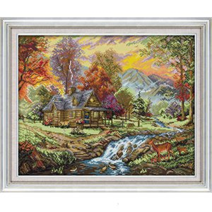 Europe the Holiday Villa Scenery Counted Dmc 14ct 11ct Pattern Printed on Canvas Cross Stitch Kits Needlework Embroidery Sets