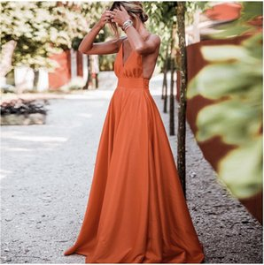 Orange A Line Long Prom Dresses 2021 Sexy V Neck Backless Spaghetti Strap Evening Dress Party For Women Formal Gowns