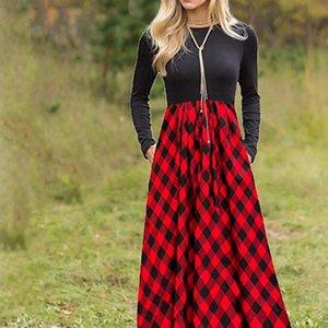 Z40 Spring Autumn Red Womens Dress Plaid Maxi Women Elegant Lady Blouse Long Sleeve Vestidos De Fiesta Noche