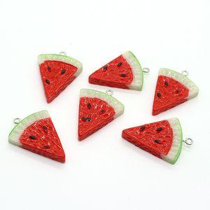 10pcs Hars Simulation Watermelon Earring Charms Simple Diy Food Keychains Bracelet Hangers Accessory Geometric Jewelry Making