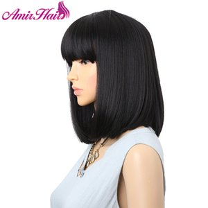 Amir Straight Black Synthetic Wigs With Bangs For Women Medium Length Hair Bob Wig Heat Ristant bobo Hairstyle Curly wigs