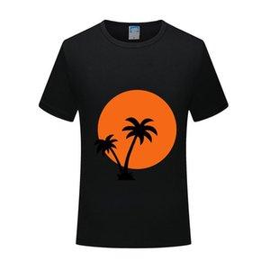 Men's T-Shirts 2021 Brand Men Women Custom T-shirt Fashion Top Pure Short Sleeve High Quality Summer Palm Trees And Sun