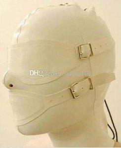 Mysterious Exotic Beige White Women Handmade Customize Latex Hoods Mask Back Zipper Zentai Goggles Masks Hood Eye &Mouth Cover