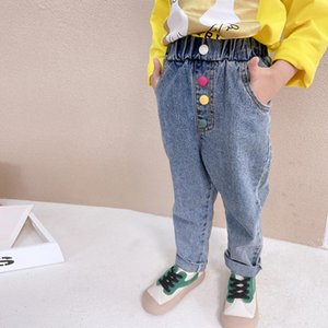 Jeans WLG Kids Girl Spring Fall Denim Blue Solid Jean Baby Casual Trousers For 3-9 Years