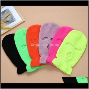 Caps Masks Pure Color Full Cover 3 Hole Balaclava Knit Winter Ski Cycling Mask Warmer Scarf Outdoor Face Jllqiu Xjfshop 8Naha Ig8Uy