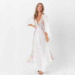 Bohe Maxi Dress Women V Neck Floral Print Kimono Flare Sleeve Beach 2021 Summer Casual Button Long Loose Robe Femme Dresses