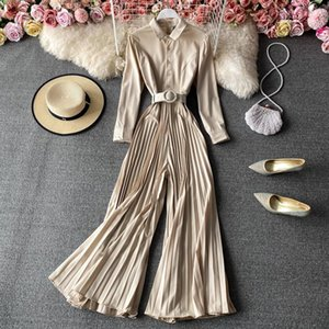 Women's Jumpsuits & Rompers Overalls For Women 2021 Spring Long Sleeve Solid Pleated Wide Leg Jumpsuit Fashion Ladies Elegant Bodysuit Roupa