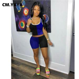 CM.YAYA Women Set Patchwork Crop Tank Tops Elastic Sheath Shorts Two 2 Piece Fitness Tracksuit Casual Outfit Yoga Sweatsuit Women's Tracksui