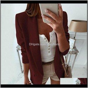 Suits & Blazers Womens Clothing Apparel Drop Delivery 2021 Autumn Women Solid Lapel Slim Blazer Jacket Ladies Business Office Coat Double Poc