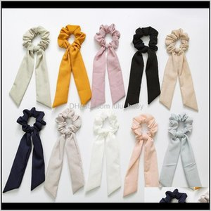 Vintage Solid Color Scrunchies Women Accessories Hair Bands Ties Scrunchie Ponytail Holder Rubber Rope Decoration Big Long Bow Vyt Alnpp