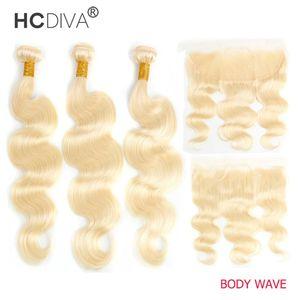 Perulu İnsan Saç Demetleri Dantel Frontal Eer Ile Kulak 613 Sarışın 13x4 Şeffaf HD Kıvırcık Islak Ve Dalgalı Su Dalga Vücut Düz