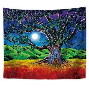 Paisagem natural floresta árvore lua tapeçaria parede suspensão decoração parede tapeçaria parede tapppy psicodélico tapeçaria cobertores