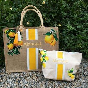 Custom Lemons Tree Tote Bag Bachelorette Gift Burlap Personalized Beach Tropical Bridesmaid Ideas Bags Wrap