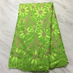5yards / pc Nice olhando limão verde bordado de algodão africano flor suíça Voile Seco laço para molho PL12434