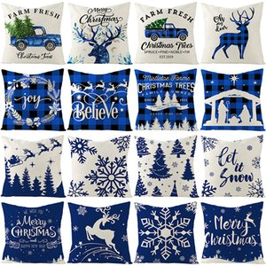 45*45cm Blue Christmas elk deer Pillow Case Xmas print Throw Cushion Cover Home Sofa Decor Pillowcases 16 styles Z4299