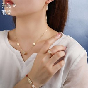 necklaceYashi liv 925 silver jade bamboo gold women's simple and elegant quality earrings necklace bracelet ring