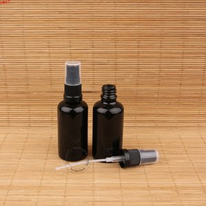 20pcs Lot High Quality Glass 50ml Perfume Bottle with Water Black Lid Container Parfum Spray Vial 50g Packaginggoods