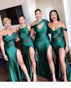 2021 우아한 저렴한 라인 신부 들러리 드레스 아스 4 개의 스타일 떨어져 숄더 바닥 길이가 떨어지는 섹시한 하녀 명예 가운 공식 드레스