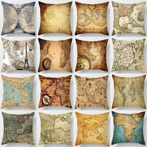 18 inches Watercolor Vintage Pillow Case Cushion Cover world map Pattern 45*45cm Square Throw Pillows Covers Car Sofa Home