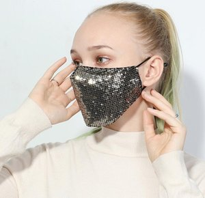 Mask 7Styles Sequin Cotton Summer Sunscreen Mask Bling Sequined Protective Masks Dustproof Mouth Masks Glitter Face Cover GGA3522