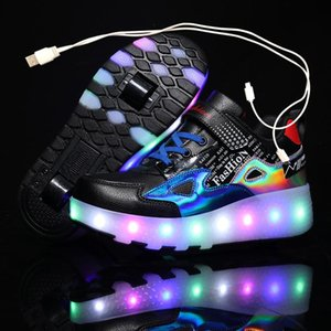 Zapatillas de deporte luminosa de dos ruedas de zapatos rojos negros Rodillo de luz LED para niños Niños Niños Chicas para niños 28-43 Atlético al aire libre