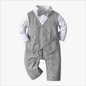Great Quality Baby Boys Gentleman Style Rompers Spring Autumn Toddler Boy Long Sleeve Jumpsuits With Bowtie Infant Cotton Onesies 0-24Months