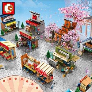 Sembo Block Japanese Mini Moc Creative Street Store Shop House Tree Model Building Architect Sakura Inari Shrine City Miniature H0917