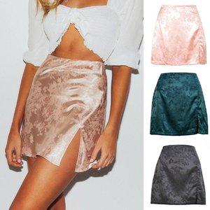 Skirts Women Summer Vintage Floral Jacquard Satin Short Mini Skirt Zipper High Waisted Sexy Side Split A-Line Party Clubwear
