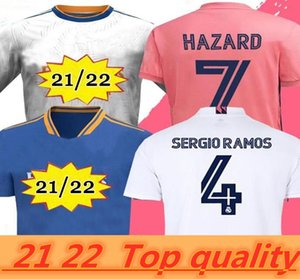 Podsycal 레알 마드리드 유니폼 21 22 축구 축구 셔츠 Haaland Sergio Ramos Benzema Camiseta Men + Kids Kit 2020 2021
