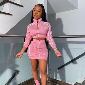 Mode Streetwear Zwei Stück Frauen Sportanzüge Sommer Club Neon Rosa Outfits Rock Set Trainingsanzug Weibliche Damen Passende Sets T200620