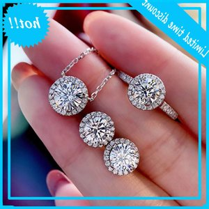 Tennis Diamond Set Real 925 Sterling Silver Engagement Wedding Rings Earrings Chain for Women Moissanite Jewelry Poison