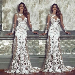 Long Women's Autumn New Sleeve Perspective Mesh Embroidery Wedding Dress