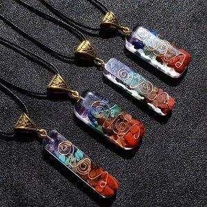 Чакра медитации каменное ожерелье цепи прямоугольника натуральные энергии генератор молитвы духовной идеи оригинальные хрустальные камни подвеска 716 q2
