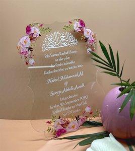 Tarjetas de invitación personalizadas de la boda personalizada de lujo acrílico acrílico de la invitación de la boda.