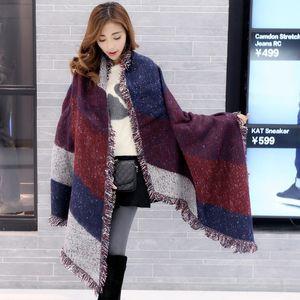 Poncho Inverno Winter Autumn Women Long Blanket Scarf Cashmere Pashmina Wool Scarf Shawl Femininas Thick Scarves Cape Wraps