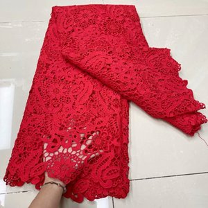 African Gold Red Guipure Lace Fabric 2021 High Quality Nigerian Cord Lace Fabric France Water Soluble Lace For Wedding Dress