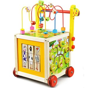 Wooden baby child toddler car trolley puzzle walker big round beads multi-function treasure box toy play baby 7-18 months