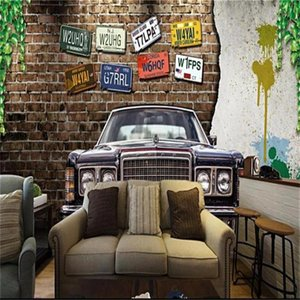 Wallpapers Custom Size 3d Po Wallpaper Mural Living Room License Plate Vintage Car Bar Picture Sofa TV Backdrop For Wall