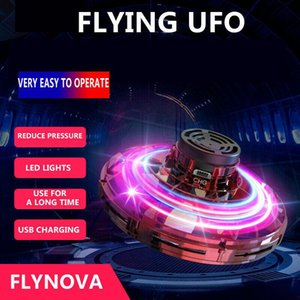 FlyNova UFO Fidget Spinner Toy Kids Portable Flying 360 Dgrees Rotating Shinning LED Lights Adult Anti-anxiety Release Xmas Flying Toy Gift