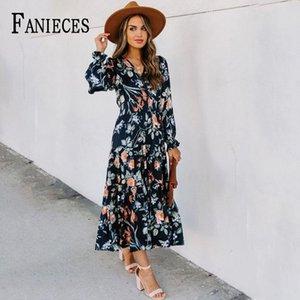 Шифоновое платье Женщины 2021 Весна осень цветочный принт с длинными рукавами вечеринка женский винтаж V-образным вырезом цветок миди платья вскользь