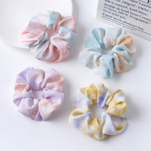 Summer Scrunchies Hairbands Watercolor Satin Hair Bands Large intestine Hair Ties Ropes Girls Ponytail Holder Hair Accessories Letter Print Brand Designs