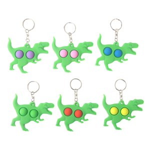 Fidget Simple Dimple Toy Dinosaur Anti Stress Popit Hand Toy Keychain Push Pop Bubble Sensory Toys for Kid Adult Stress Reliever